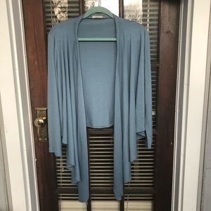Blue front draping sweater